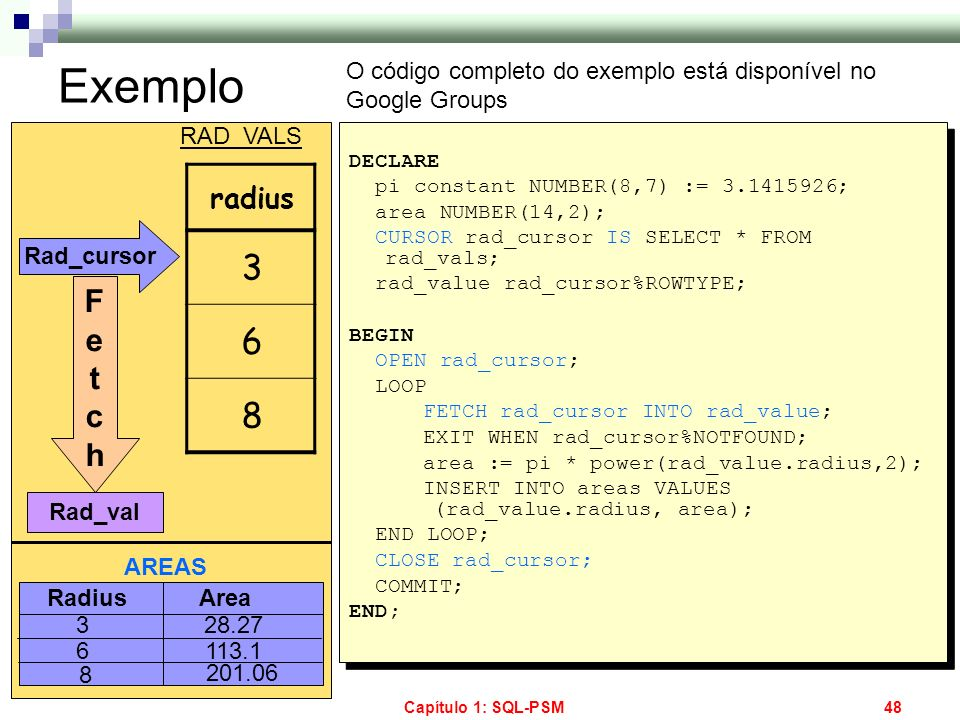 Capítulo 1: SQL-PSM48 Exemplo DECLARE pi constant NUMBER(8,7) := 3.1415926; area NUMBER(14,2); CURSOR rad_cursor IS SELECT * FROM rad_vals; rad_value