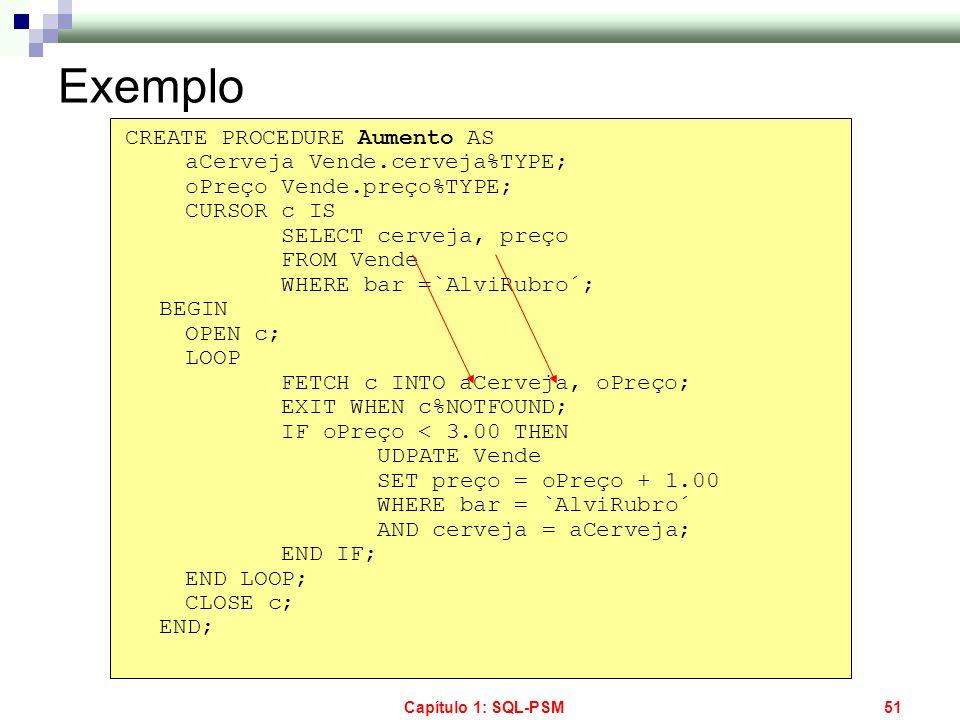Capítulo 1: SQL-PSM51 Exemplo CREATE PROCEDURE Aumento AS aCerveja Vende.cerveja%TYPE; oPreço Vende.preço%TYPE; CURSOR c IS SELECT cerveja, preço FROM