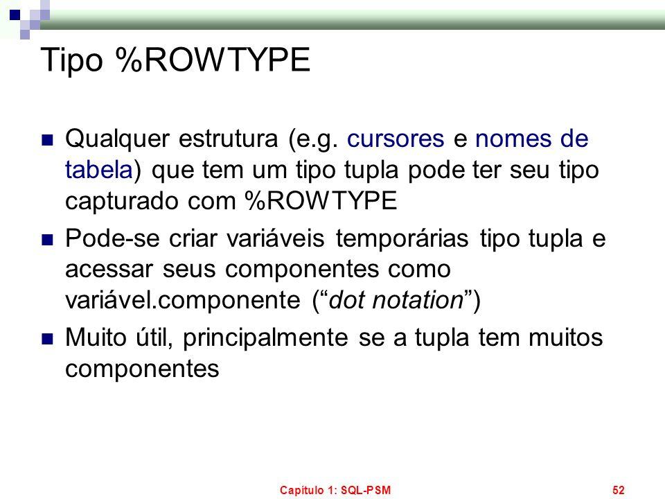 Capítulo 1: SQL-PSM52 Tipo %ROWTYPE Qualquer estrutura (e.g. cursores e nomes de tabela) que tem um tipo tupla pode ter seu tipo capturado com %ROWTYP