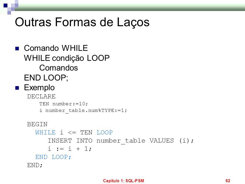 Capítulo 1: SQL-PSM62 Outras Formas de Laços Comando WHILE WHILE condição LOOP Comandos END LOOP; Exemplo DECLARE TEN number:=10; inumber_table.num%TY