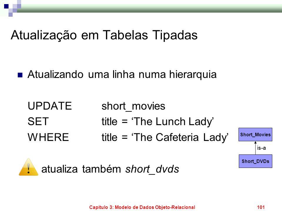 Capítulo 3: Modelo de Dados Objeto-Relacional101 Atualização em Tabelas Tipadas Atualizando uma linha numa hierarquia UPDATE short_movies SET title =