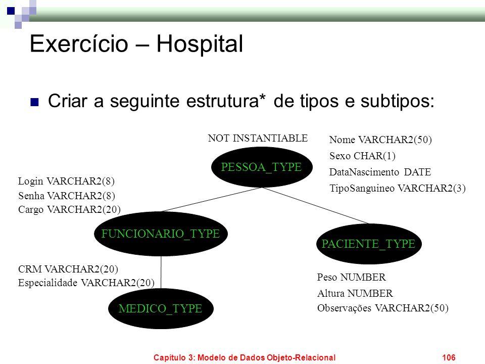 Capítulo 3: Modelo de Dados Objeto-Relacional106 Exercício – Hospital Criar a seguinte estrutura* de tipos e subtipos: PESSOA_TYPE FUNCIONARIO_TYPE PA