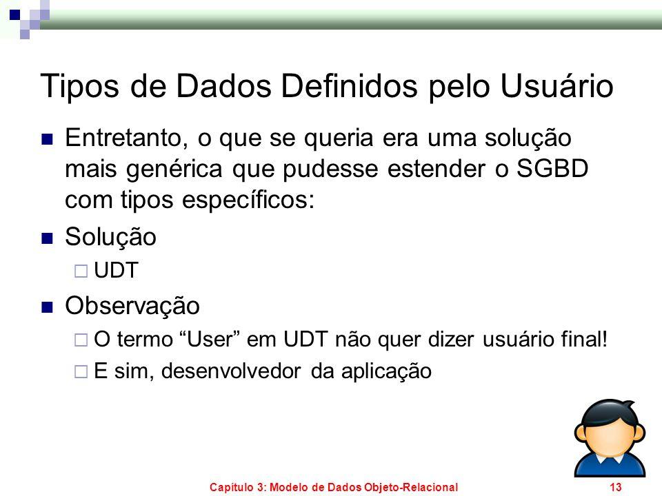 Capítulo 3: Modelo de Dados Objeto-Relacional13 Tipos de Dados Definidos pelo Usuário Entretanto, o que se queria era uma solução mais genérica que pu