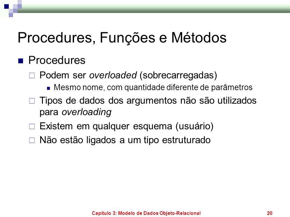 Capítulo 3: Modelo de Dados Objeto-Relacional20 Procedures, Funções e Métodos Procedures Podem ser overloaded (sobrecarregadas) Mesmo nome, com quanti