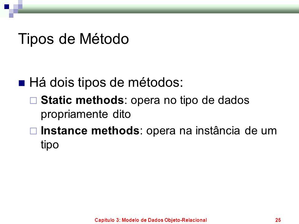 Capítulo 3: Modelo de Dados Objeto-Relacional25 Tipos de Método Há dois tipos de métodos: Static methods: opera no tipo de dados propriamente dito Ins