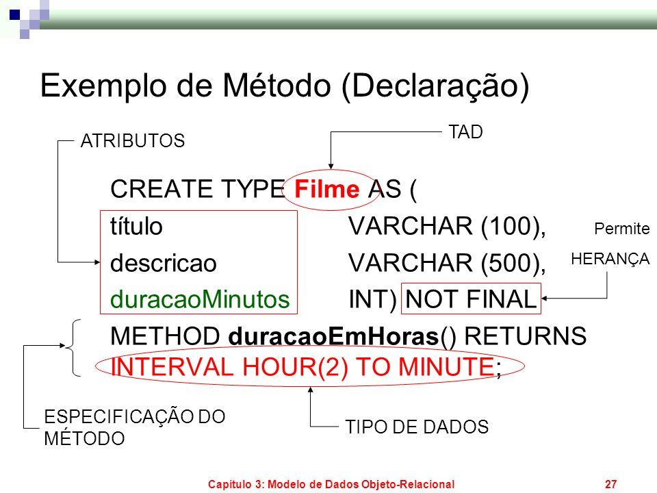 Capítulo 3: Modelo de Dados Objeto-Relacional27 Exemplo de Método (Declaração) CREATE TYPE Filme AS ( título VARCHAR (100), descricao VARCHAR (500), d