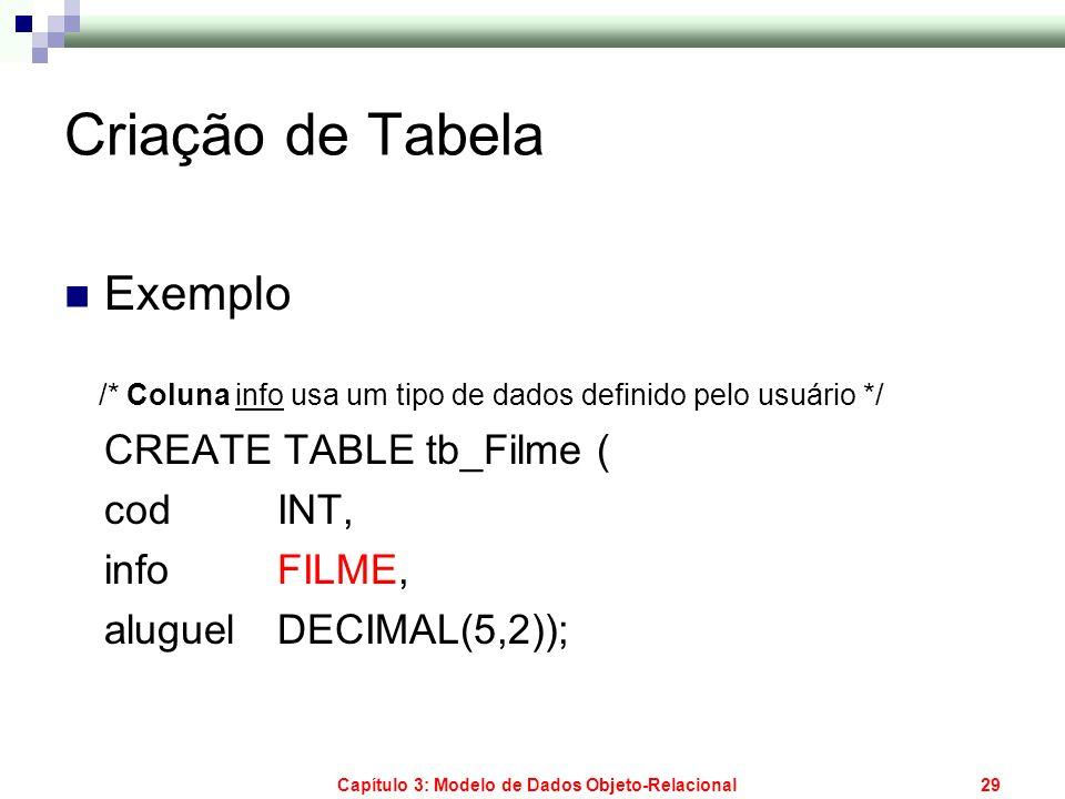 Capítulo 3: Modelo de Dados Objeto-Relacional29 Criação de Tabela Exemplo /* Coluna info usa um tipo de dados definido pelo usuário */ CREATE TABLE tb