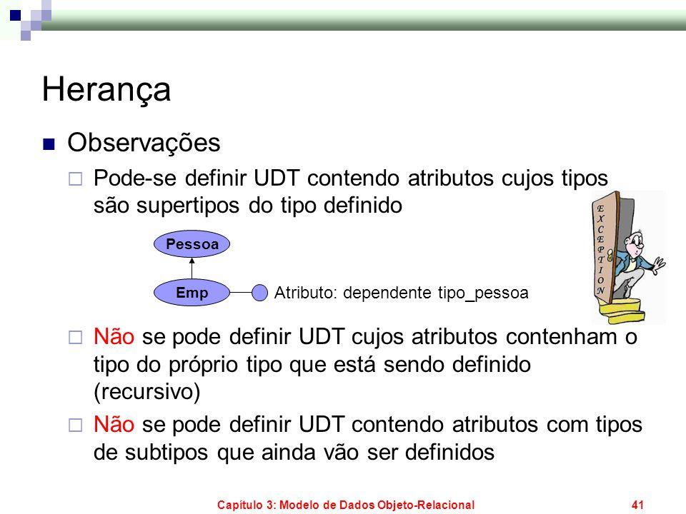 Capítulo 3: Modelo de Dados Objeto-Relacional41 Herança Observações Pode-se definir UDT contendo atributos cujos tipos são supertipos do tipo definido