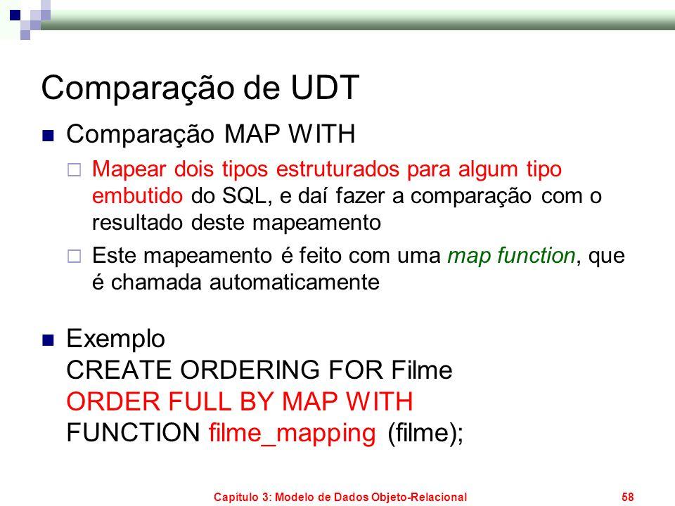 Capítulo 3: Modelo de Dados Objeto-Relacional58 Comparação de UDT Comparação MAP WITH Mapear dois tipos estruturados para algum tipo embutido do SQL,