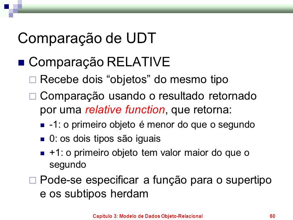 Capítulo 3: Modelo de Dados Objeto-Relacional60 Comparação de UDT Comparação RELATIVE Recebe dois objetos do mesmo tipo Comparação usando o resultado