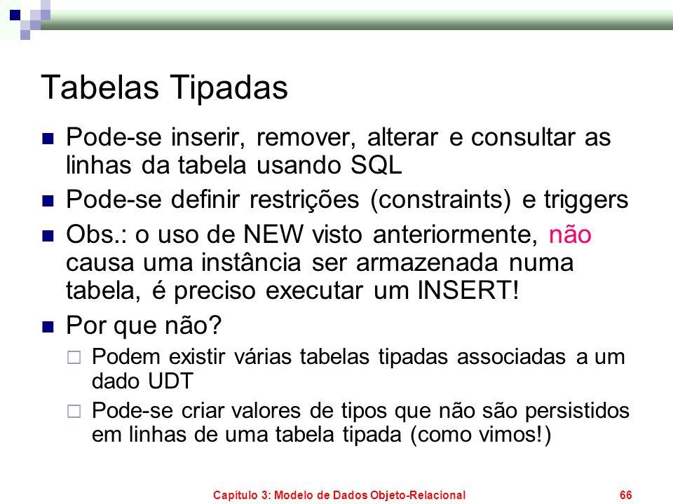 Capítulo 3: Modelo de Dados Objeto-Relacional66 Tabelas Tipadas Pode-se inserir, remover, alterar e consultar as linhas da tabela usando SQL Pode-se d