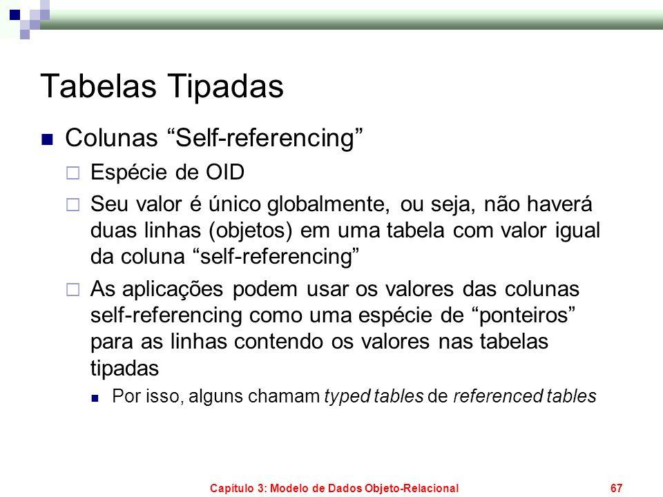Capítulo 3: Modelo de Dados Objeto-Relacional67 Tabelas Tipadas Colunas Self-referencing Espécie de OID Seu valor é único globalmente, ou seja, não ha
