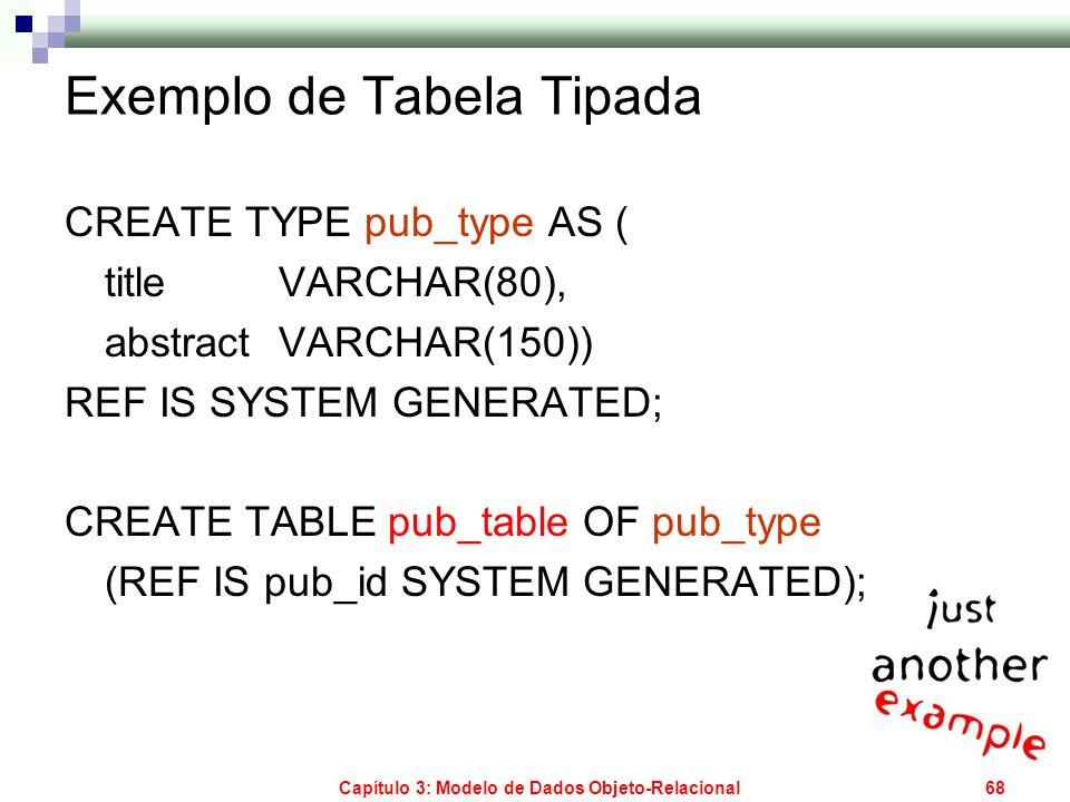 Capítulo 3: Modelo de Dados Objeto-Relacional68 Exemplo de Tabela Tipada CREATE TYPE pub_type AS ( title VARCHAR(80), abstractVARCHAR(150)) REF IS SYS