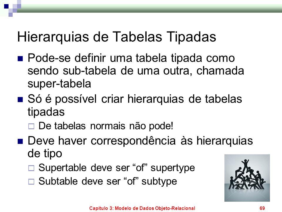 Capítulo 3: Modelo de Dados Objeto-Relacional69 Hierarquias de Tabelas Tipadas Pode-se definir uma tabela tipada como sendo sub-tabela de uma outra, c