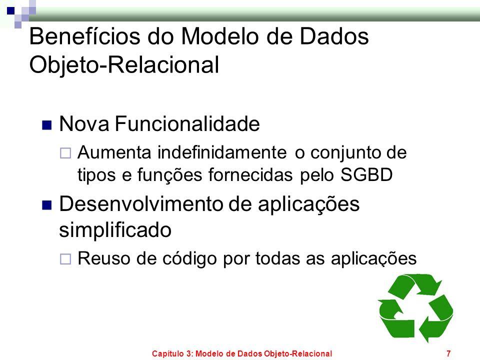 Capítulo 3: Modelo de Dados Objeto-Relacional7 Benefícios do Modelo de Dados Objeto-Relacional Nova Funcionalidade Aumenta indefinidamente o conjunto