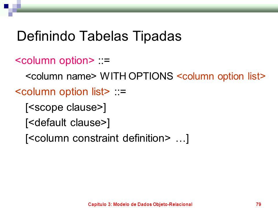 Capítulo 3: Modelo de Dados Objeto-Relacional79 Definindo Tabelas Tipadas ::= WITH OPTIONS ::= [ ] [ …]