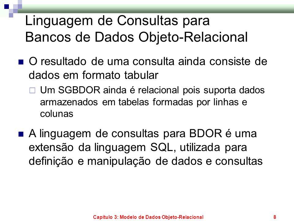 Capítulo 3: Modelo de Dados Objeto-Relacional8 Linguagem de Consultas para Bancos de Dados Objeto-Relacional O resultado de uma consulta ainda consist