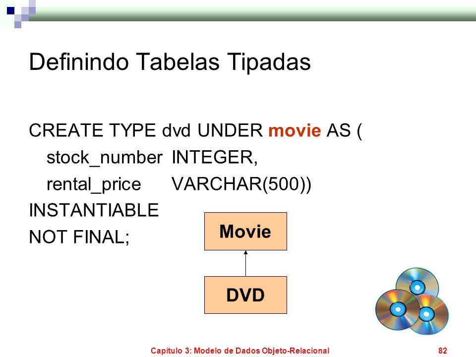 Capítulo 3: Modelo de Dados Objeto-Relacional83 Definindo Tabelas Tipadas CREATE TABLE short_movies OF movie (REF IS movie_id SYSTEM GENERATED, runs WITH OPTIONS CONSTRAINT short_movie_check_runs CHECK (runs < 90)); Short_Movies