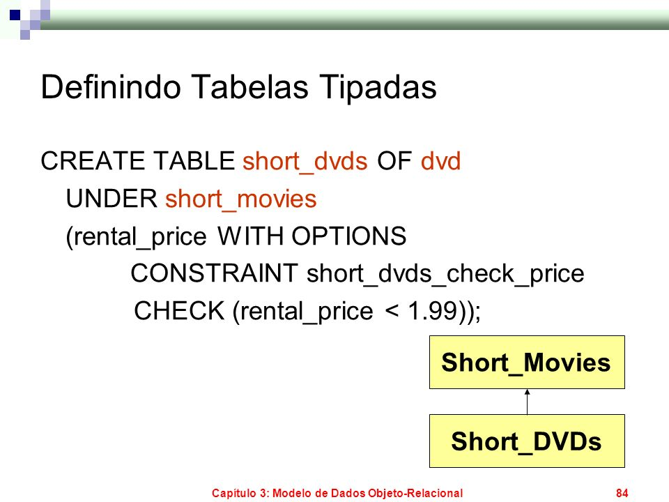 Capítulo 3: Modelo de Dados Objeto-Relacional84 Definindo Tabelas Tipadas CREATE TABLE short_dvds OF dvd UNDER short_movies (rental_price WITH OPTIONS