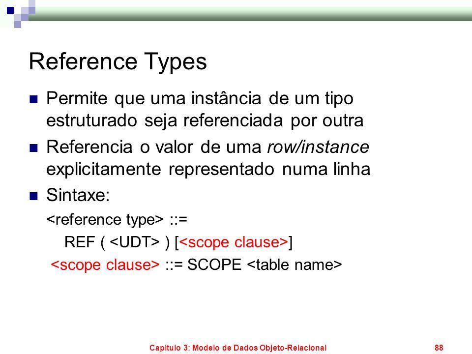 Capítulo 3: Modelo de Dados Objeto-Relacional88 Reference Types Permite que uma instância de um tipo estruturado seja referenciada por outra Referenci
