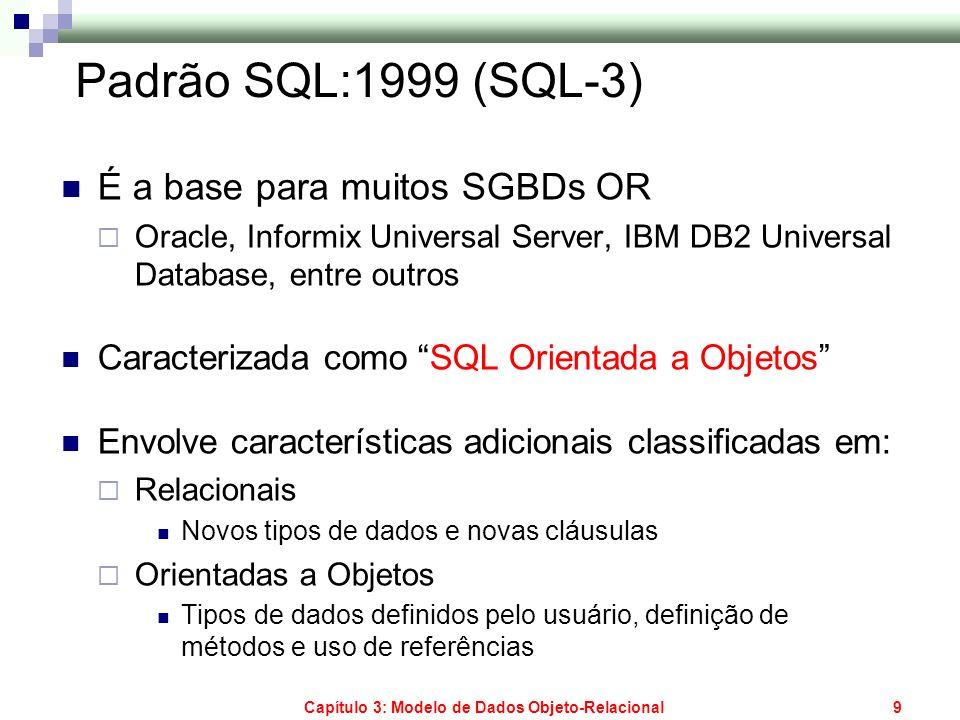 Capítulo 3: Modelo de Dados Objeto-Relacional9 Padrão SQL:1999 (SQL-3) É a base para muitos SGBDs OR Oracle, Informix Universal Server, IBM DB2 Univer