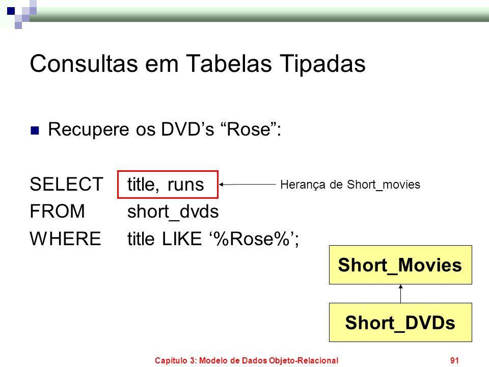 Capítulo 3: Modelo de Dados Objeto-Relacional91 Consultas em Tabelas Tipadas Recupere os DVDs Rose: SELECT title, runs FROM short_dvds WHERE title LIK