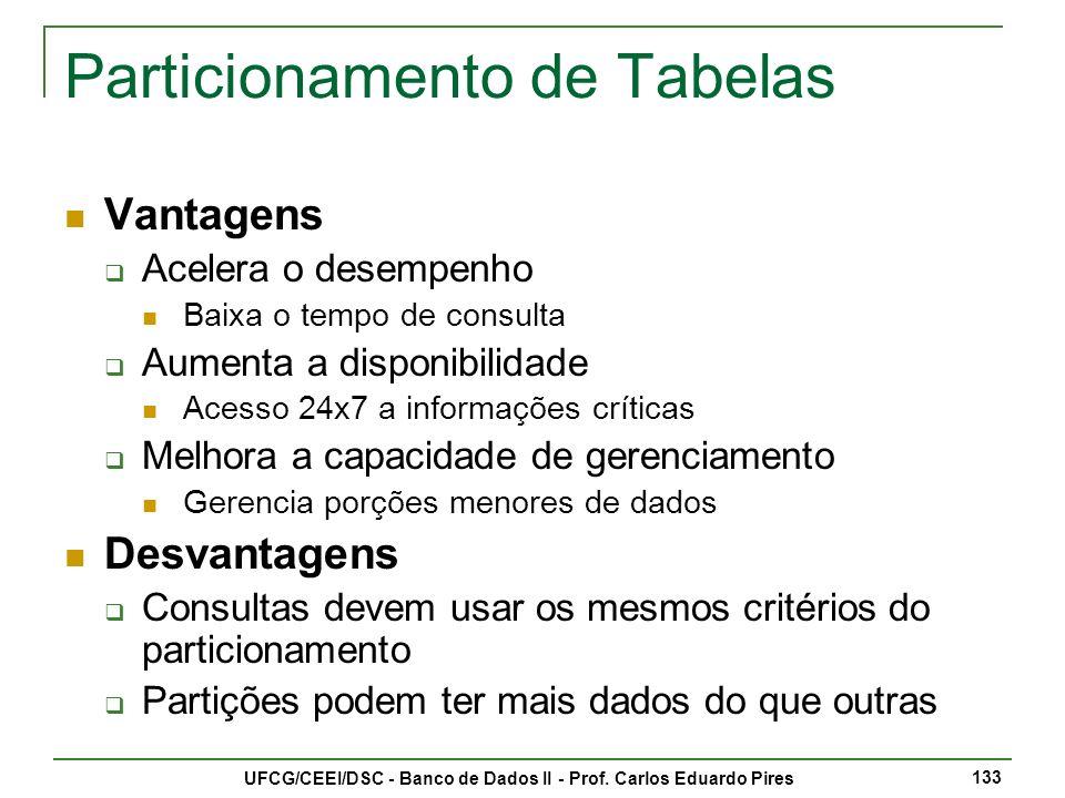 UFCG/CEEI/DSC - Banco de Dados II - Prof.Carlos Eduardo Pires 134 Indexação Índices de Bitmap...