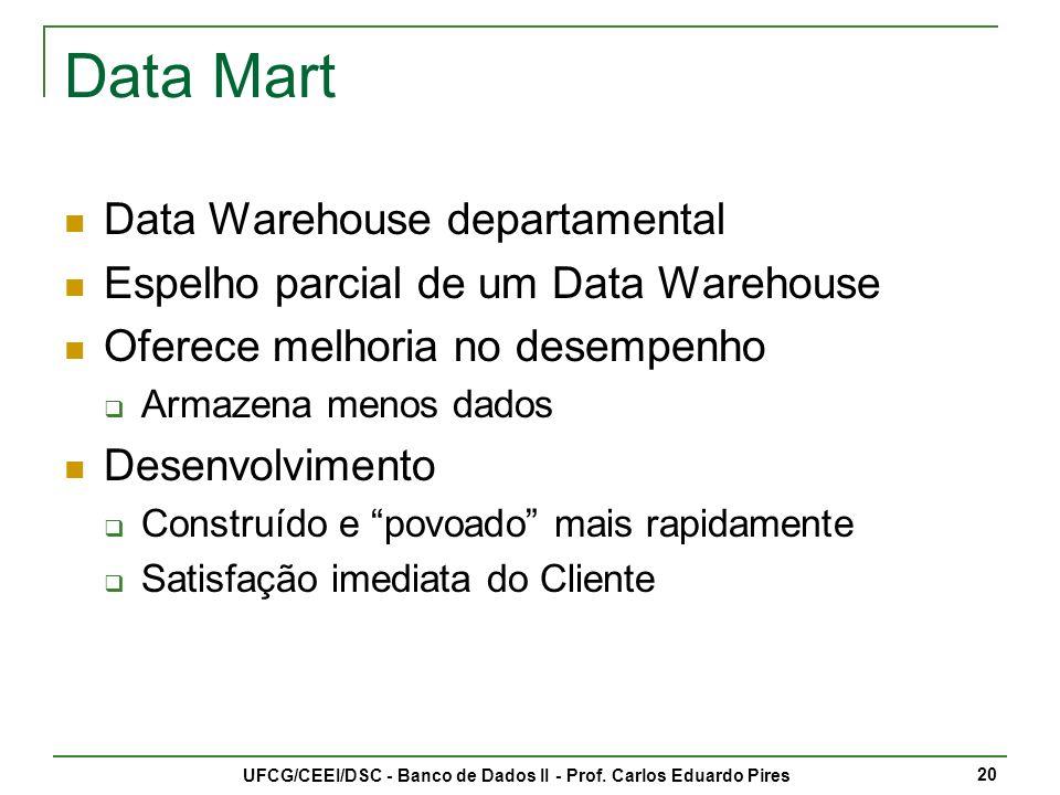 UFCG/CEEI/DSC - Banco de Dados II - Prof. Carlos Eduardo Pires 21 Data Mart