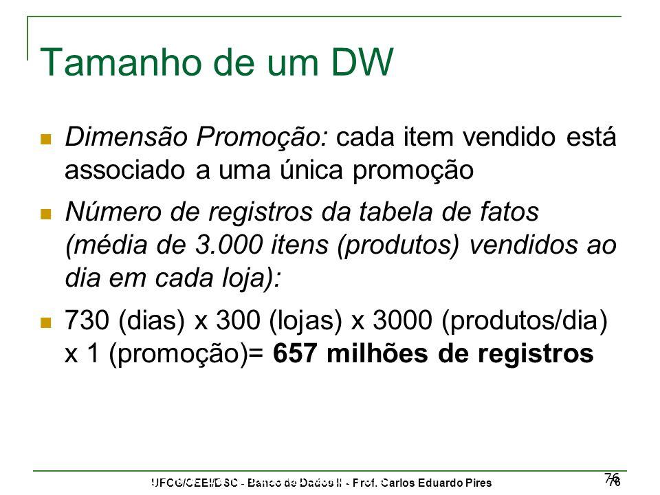 UFCG/CEEI/DSC - Banco de Dados II - Prof.Carlos Eduardo Pires 77 Data Warehousing - Prof.