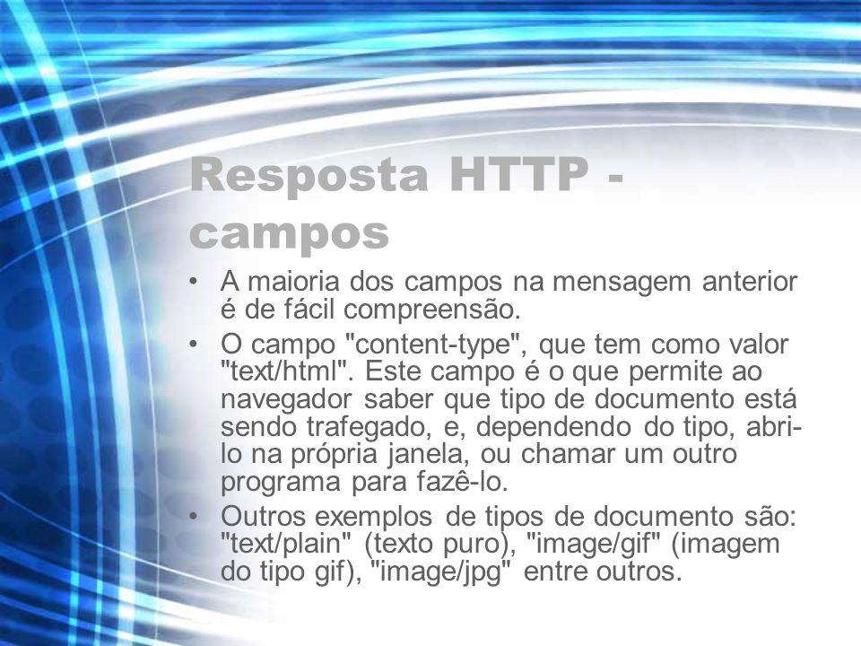 Resposta HTTP - campos A maioria dos campos na mensagem anterior é de fácil compreensão. O campo