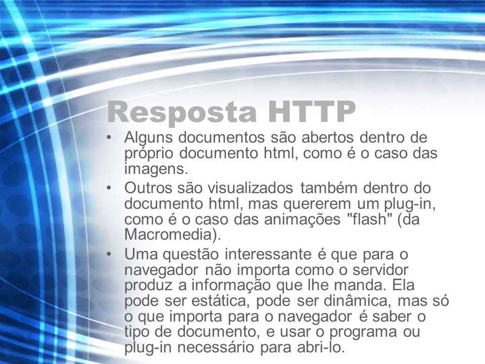 Resposta HTTP Alguns documentos são abertos dentro de próprio documento html, como é o caso das imagens. Outros são visualizados também dentro do docu