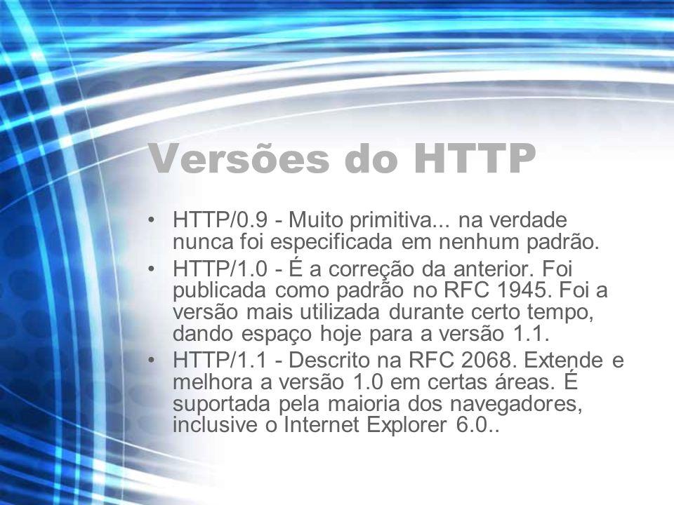 Versões do HTTP HTTP/0.9 - Muito primitiva... na verdade nunca foi especificada em nenhum padrão. HTTP/1.0 - É a correção da anterior. Foi publicada c