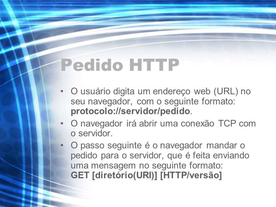 Pedido HTTP O usuário digita um endereço web (URL) no seu navegador, com o seguinte formato: protocolo://servidor/pedido. O navegador irá abrir uma co