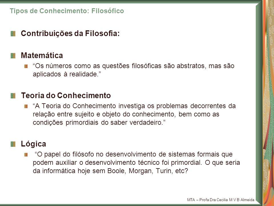 MTA – Profa Dra Cecilia M V B Almeida Contribuições da Filosofia: Matemática Os números como as questões filosóficas são abstratos, mas são aplicados