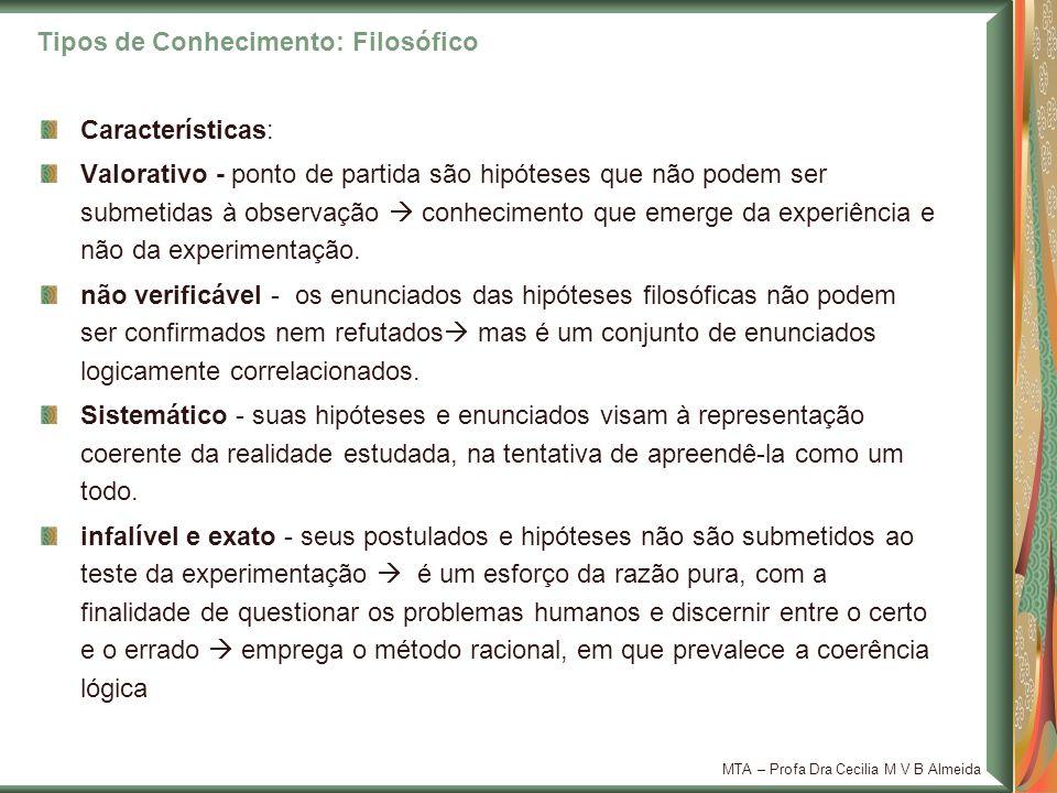 MTA – Profa Dra Cecilia M V B Almeida Características: Valorativo - ponto de partida são hipóteses que não podem ser submetidas à observação conhecime
