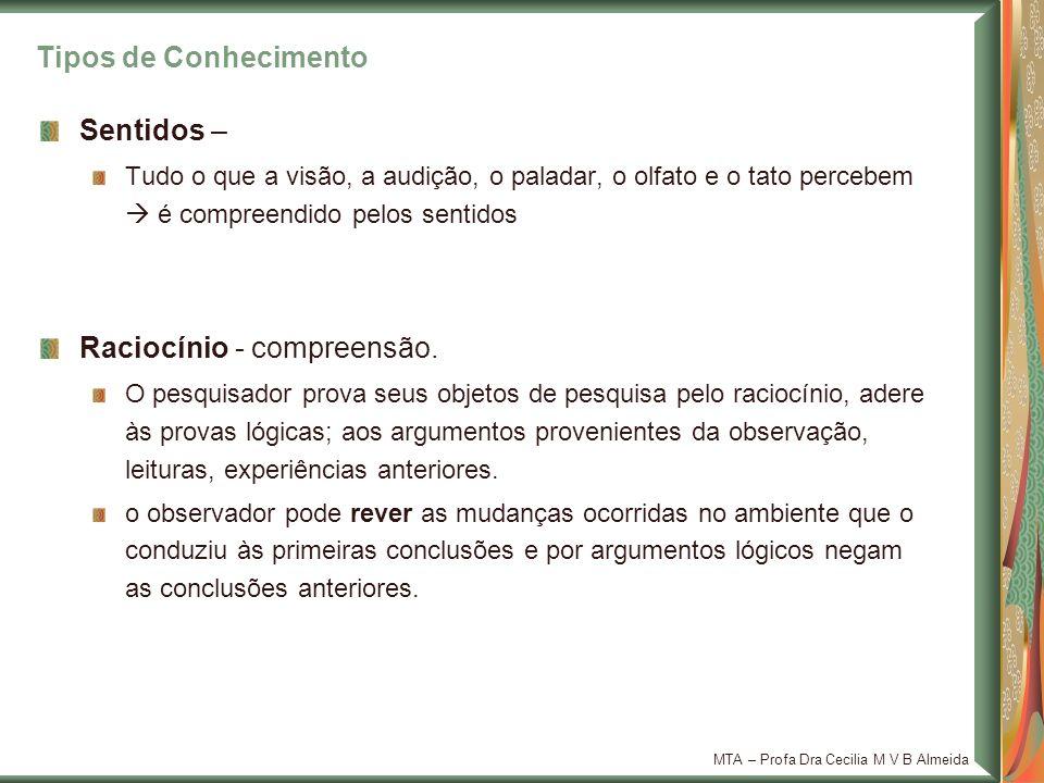 MTA – Profa Dra Cecilia M V B Almeida Tradição as tradições são compreendidas pelo raciocínio pode incorrer em dogmas.