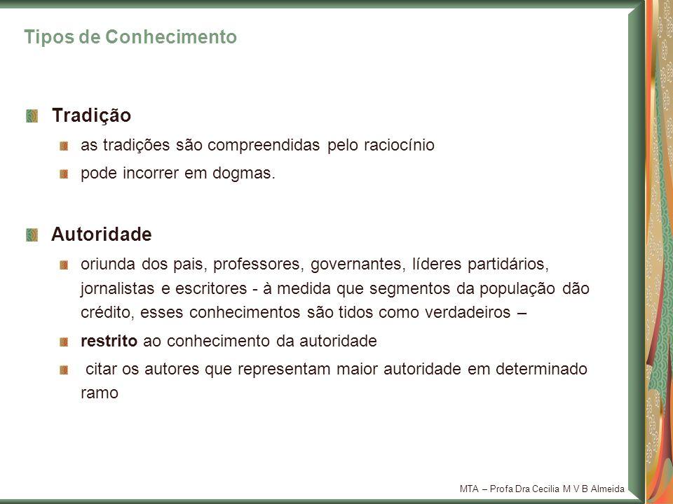 MTA – Profa Dra Cecilia M V B Almeida Tradição as tradições são compreendidas pelo raciocínio pode incorrer em dogmas. Autoridade oriunda dos pais, pr