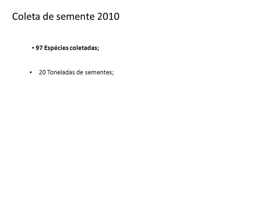 97 Espécies coletadas; 20 Toneladas de sementes; Coleta de semente 2010