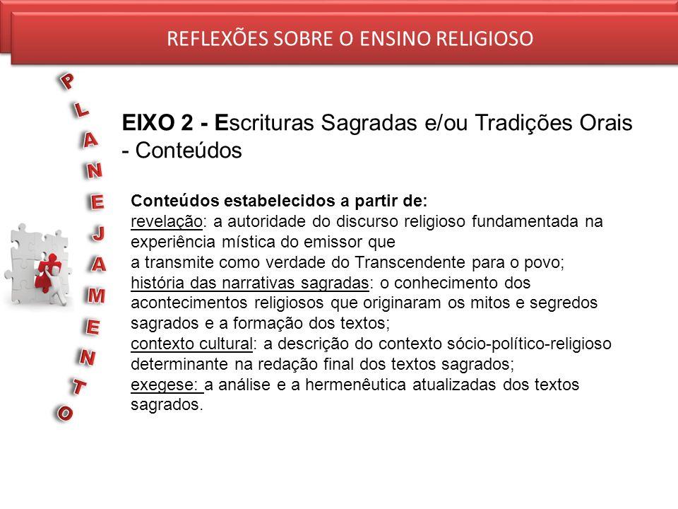 REFLEXÕES SOBRE O ENSINO RELIGIOSO EIXO 2 - Escrituras Sagradas e/ou Tradições Orais - Conteúdos REFLEXÕES SOBRE O ENSINO RELIGIOSO Conteúdos estabele