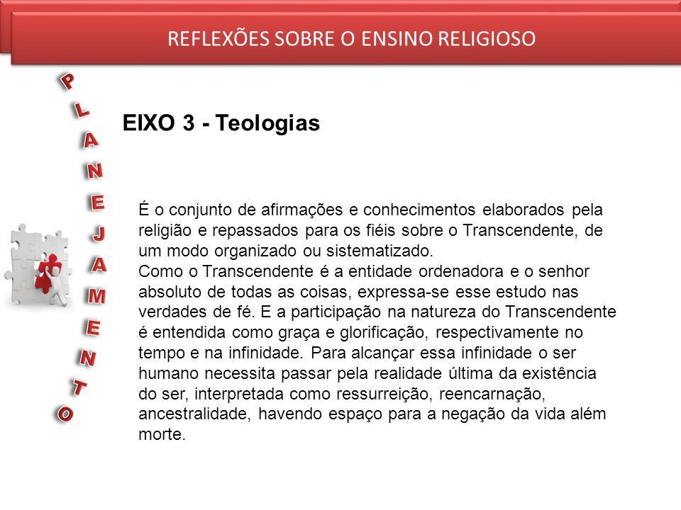 REFLEXÕES SOBRE O ENSINO RELIGIOSO EIXO 3 - Teologias REFLEXÕES SOBRE O ENSINO RELIGIOSO É o conjunto de afirmações e conhecimentos elaborados pela re