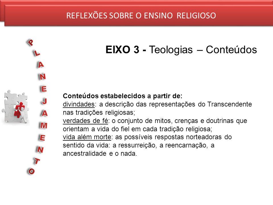 REFLEXÕES SOBRE O ENSINO RELIGIOSO EIXO 3 - Teologias – Conteúdos REFLEXÕES SOBRE O ENSINO RELIGIOSO Conteúdos estabelecidos a partir de: divindades: