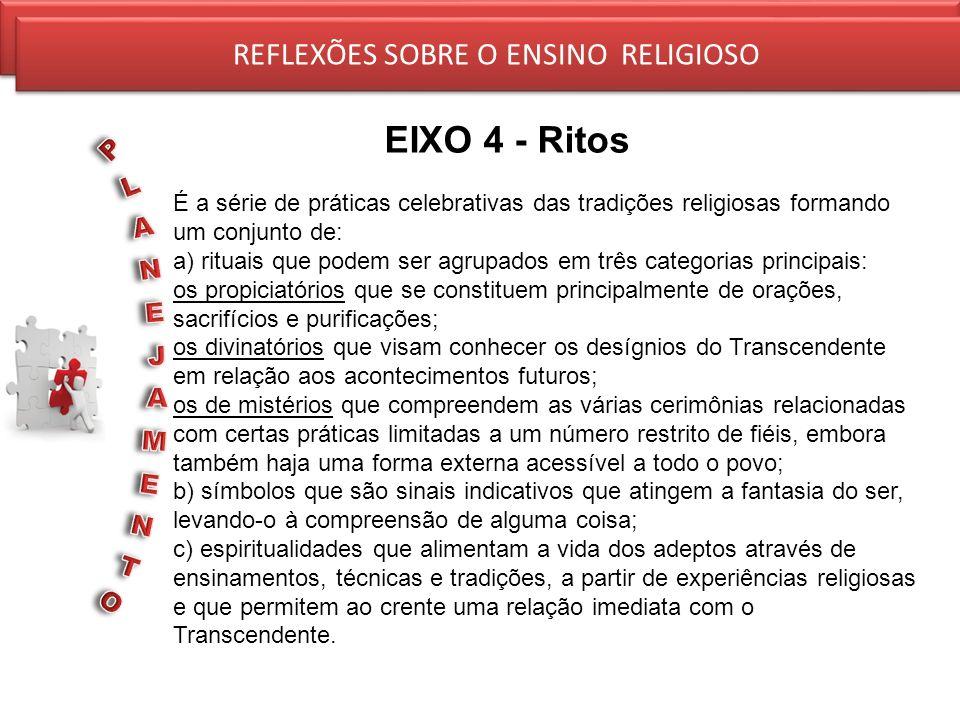REFLEXÕES SOBRE O ENSINO RELIGIOSO EIXO 4 - Ritos REFLEXÕES SOBRE O ENSINO RELIGIOSO É a série de práticas celebrativas das tradições religiosas forma
