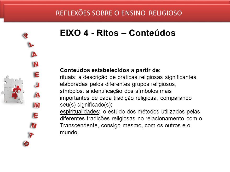 REFLEXÕES SOBRE O ENSINO RELIGIOSO EIXO 4 - Ritos – Conteúdos REFLEXÕES SOBRE O ENSINO RELIGIOSO Conteúdos estabelecidos a partir de: rituais: a descr