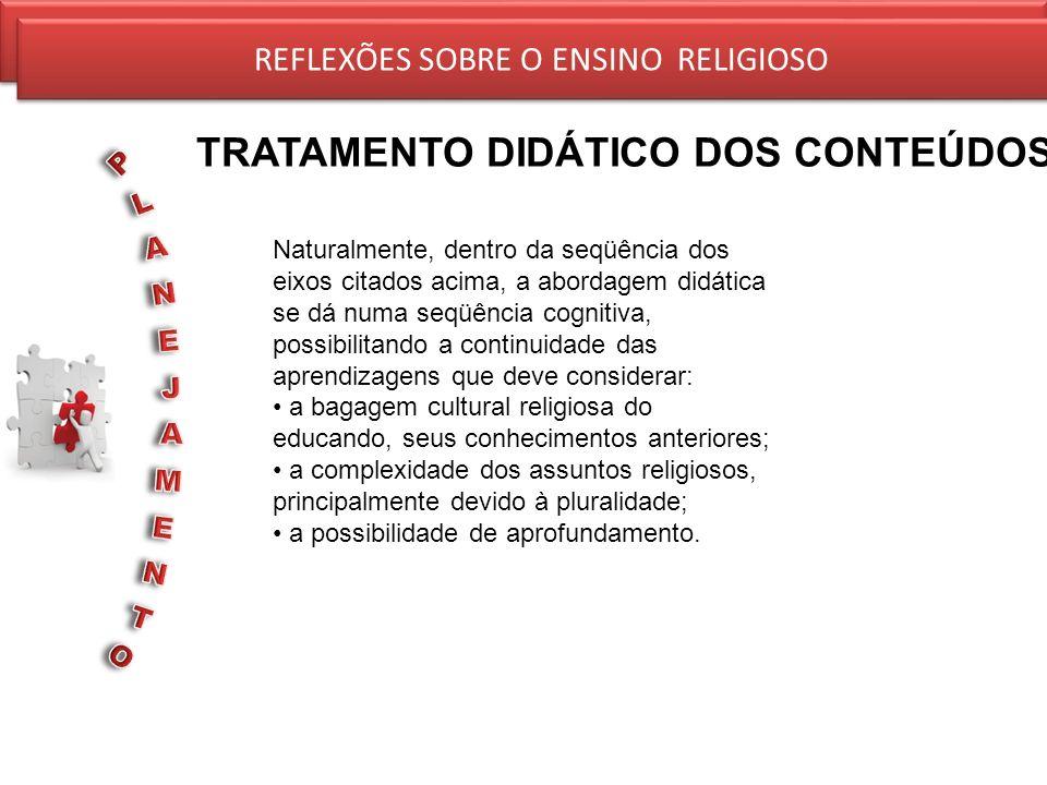 REFLEXÕES SOBRE O ENSINO RELIGIOSO TRATAMENTO DIDÁTICO DOS CONTEÚDOS REFLEXÕES SOBRE O ENSINO RELIGIOSO Naturalmente, dentro da seqüência dos eixos ci
