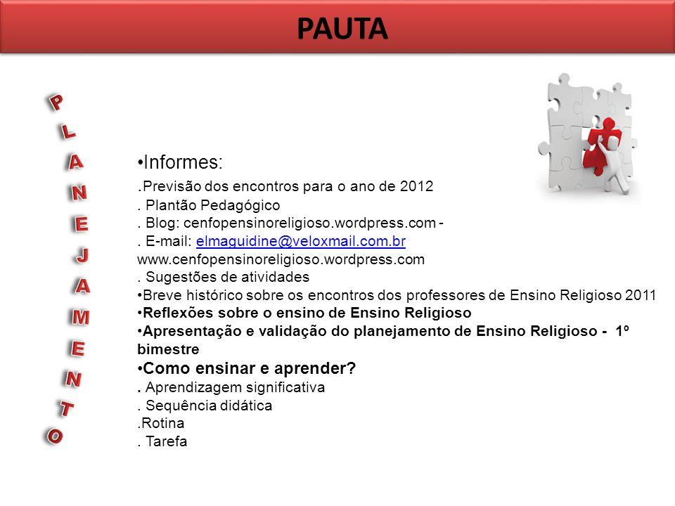 PAUTA Informes:. Previsão dos encontros para o ano de 2012. Plantão Pedagógico. Blog: cenfopensinoreligioso.wordpress.com -. E-mail: elmaguidine@velox