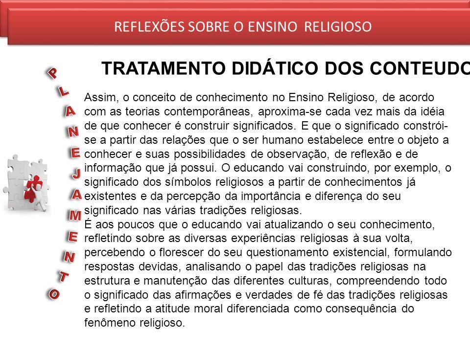 REFLEXÕES SOBRE O ENSINO RELIGIOSO TRATAMENTO DIDÁTICO DOS CONTEUDOS REFLEXÕES SOBRE O ENSINO RELIGIOSO Assim, o conceito de conhecimento no Ensino Re