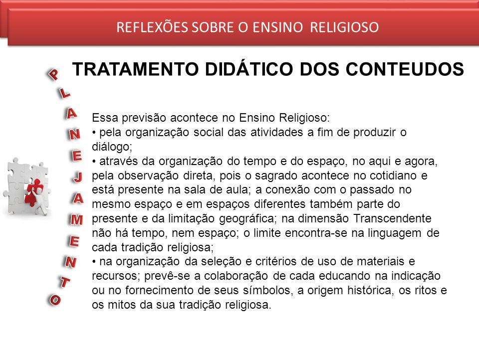 REFLEXÕES SOBRE O ENSINO RELIGIOSO TRATAMENTO DIDÁTICO DOS CONTEUDOS REFLEXÕES SOBRE O ENSINO RELIGIOSO Essa previsão acontece no Ensino Religioso: pe