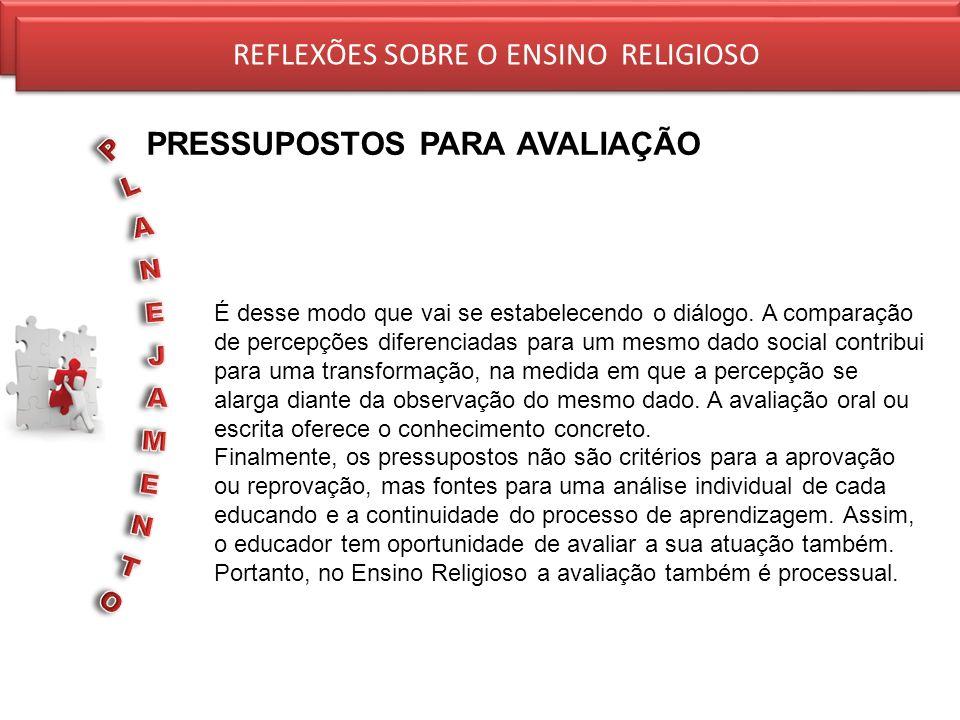 REFLEXÕES SOBRE O ENSINO RELIGIOSO PRESSUPOSTOS PARA AVALIAÇÃO REFLEXÕES SOBRE O ENSINO RELIGIOSO É desse modo que vai se estabelecendo o diálogo. A c