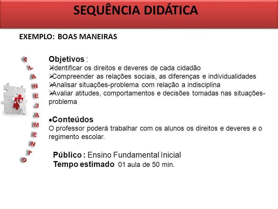 EXEMPLO: BOAS MANEIRAS SEQUÊNCIA DIDÁTICA Objetivos : Identificar os direitos e deveres de cada cidadão Compreender as relações sociais, as diferenças