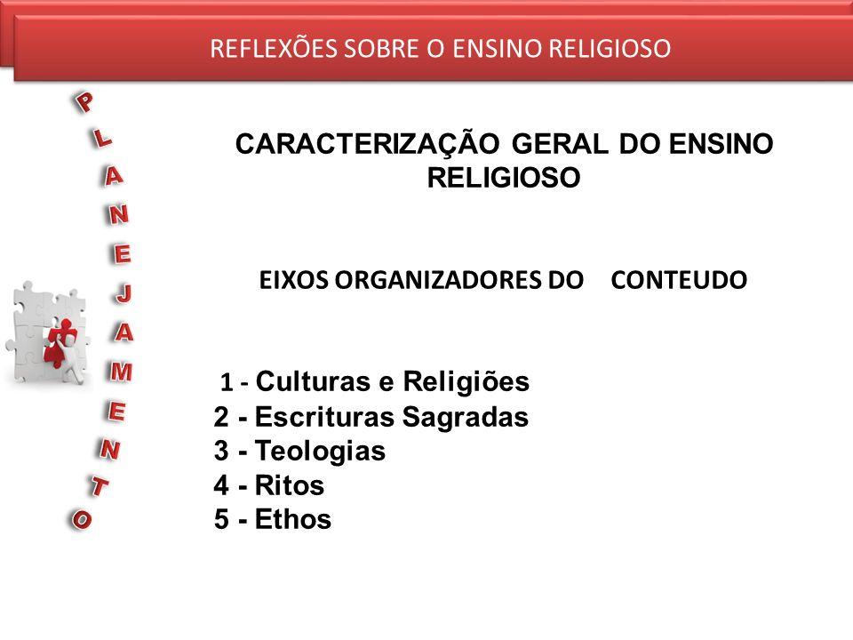 REFLEXÕES SOBRE O ENSINO RELIGIOSO CARACTERIZAÇÃO GERAL DO ENSINO RELIGIOSO EIXOS ORGANIZADORES DO CONTEUDO 1 - Culturas e Religiões 2 - Escrituras Sa